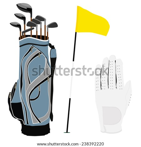 Blue golf clubs bag, sport equipment, white gloves, golf flag - stock vector
