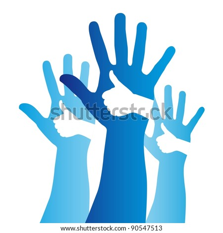 blue good and open hands sign over white background. vector