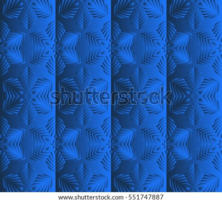 Blue gradient floral seamless pattern. vector illustration. For design, wallpaper, invitation