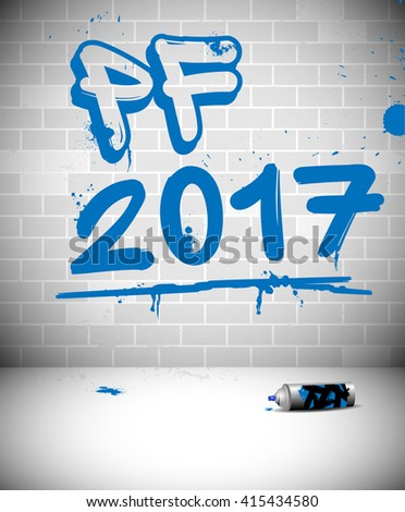 Blue graffiti on brick wall - PF 2017 - original new year greeting card with place for text. Vector illustration. - stock vector