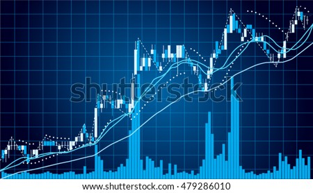 Blue Graph chart of stock market investment with indicator and volume trade , Forex concept , vector