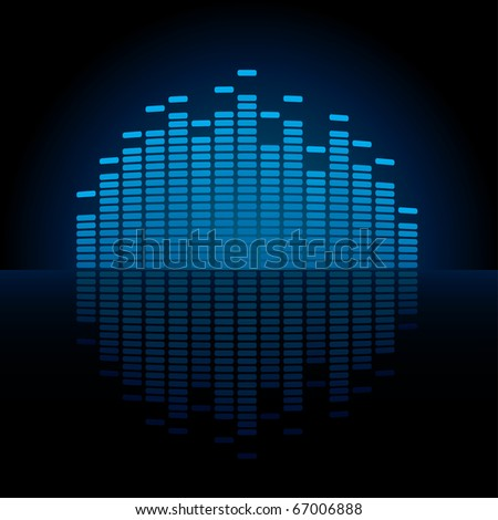 Blue Graphic Equalizer Display (editable vector)