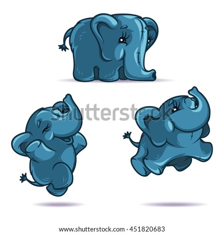 Blue gray elephant in three positions