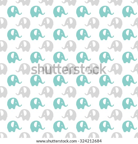 blue, gray & white elephants pattern, seamless texture background - stock vector