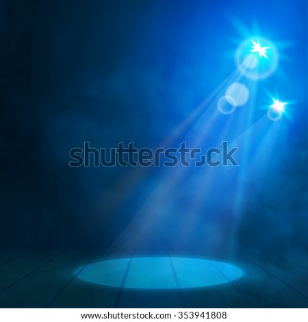 Blue Great Premiere Show Background. Smoky vector stage podium shining with spotlight's rays  - stock vector