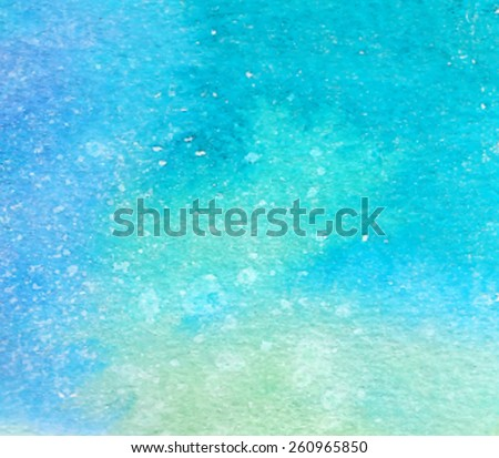 Blue green abstract macro watercolor hand drawn paper texture. Wet brush painted smudges and stains background. Artistic water sea background. Decorative design card for banner, print, decor, template - stock vector