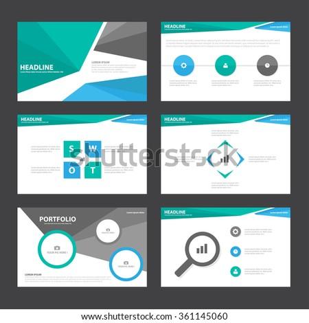 Blue green black presentation templates Infographic elements flat design set for brochure flyer leaflet marketing advertising - stock vector
