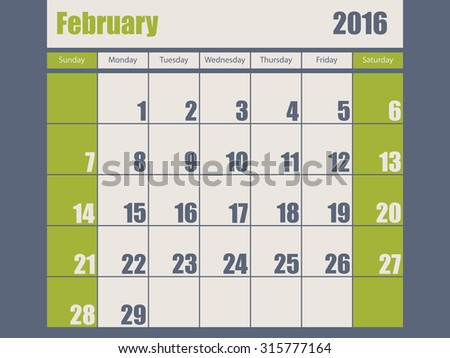 Blue green colored 2016 calendar design for february month - stock vector