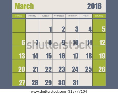 Blue green colored 2016 calendar design for march month - stock vector