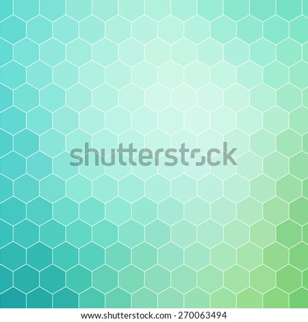 Blue green colored hexagon pattern background with white outline - stock vector