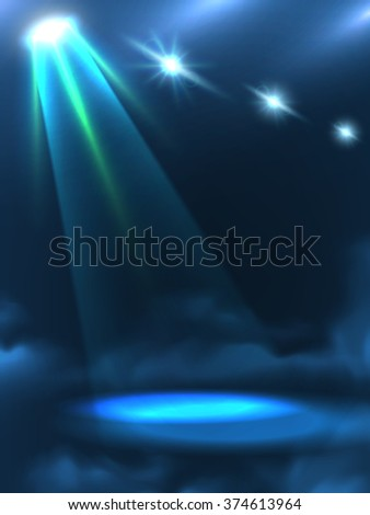 Blue green dim light beam and light spots in the darkness with clouds effect background abstract vector illustration   - stock vector