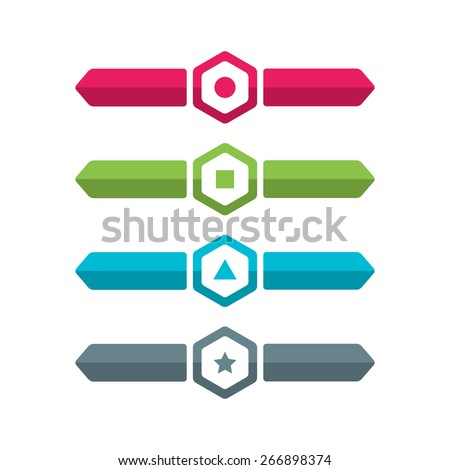 Blue, green, grey and pink arrow set. Vector template in modern style. For infographic and presentation - stock vector