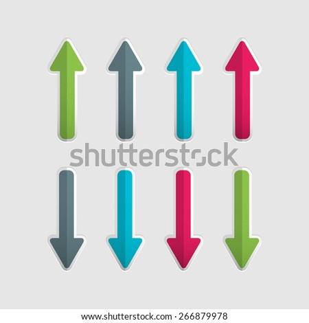 Blue, green, grey and pink up and down arrow set. Vector illustration. For infographic and presentation - stock vector