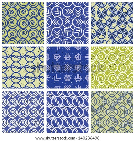 Blue green retro style tiles, seamless patterns set, vector backgrounds collection.