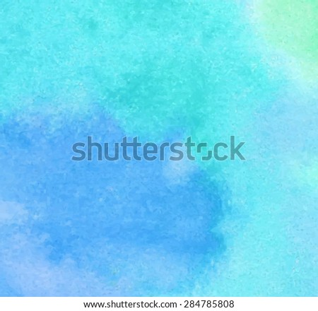 Blue green watercolor hand drawn paper grain texture background. Wet brush painted stains and smudges abstract vector illustration. Design card for banner, template, print, web, wallpaper, decoration - stock vector