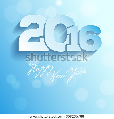Blue greeting card - Happy New Year 2016 - vector illustration - stock vector