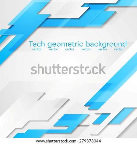 Blue grey hi-tech geometric abstract bright background. Vector card design - stock vector