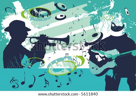 blue group of musician - stock vector