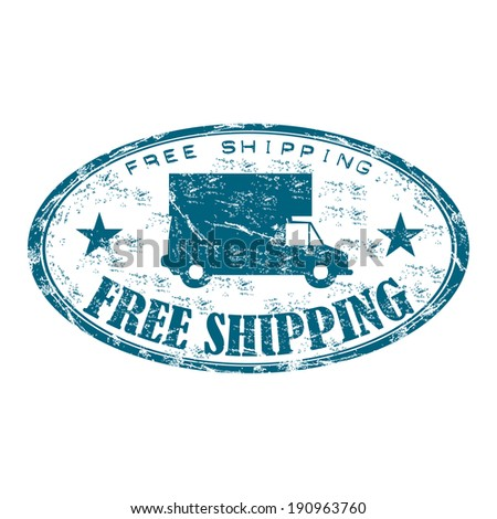 Blue grunge rubber oval stamp with truck and the text free shipping written inside the stamp - stock vector