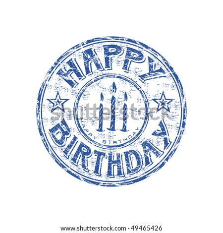 Blue grunge rubber stamp with candles and the text Happy Birthday written inside the stamp