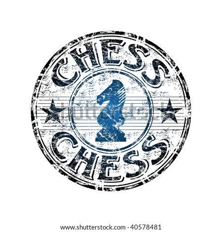 Blue grunge rubber stamp with chess knight symbol in the middle and the word chess written inside the stamp - stock vector