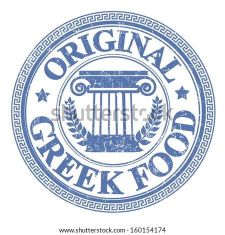 Blue grunge rubber stamp with Greek elements and the text Original Greek Food written on the stamp - stock vector