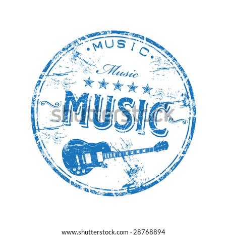 Blue grunge rubber stamp with guitar shape and the word music written inside the stamp - stock vector