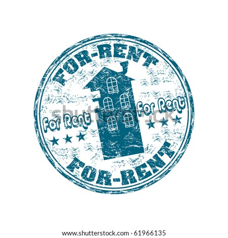 Blue grunge rubber stamp with house silhouette and the text for rent written inside the stamp - stock vector