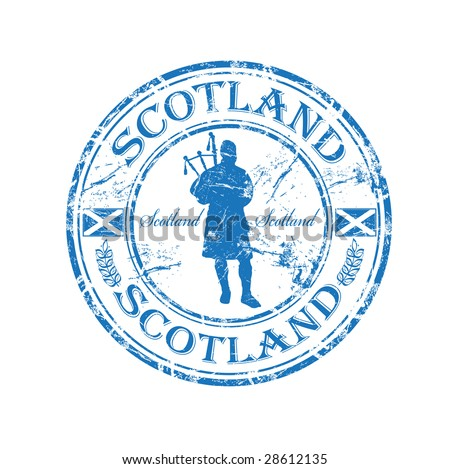 Blue grunge rubber stamp with man silhouette playing the bagpipes and the name of Scotland written inside the stamp - stock vector