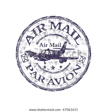 Blue grunge rubber stamp with plane shape, and the text air mail, par avion written inside the stamp - stock vector