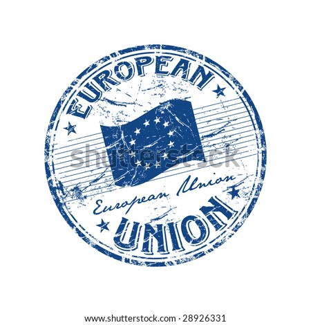 Blue grunge rubber stamp with the flag and the name of European Union