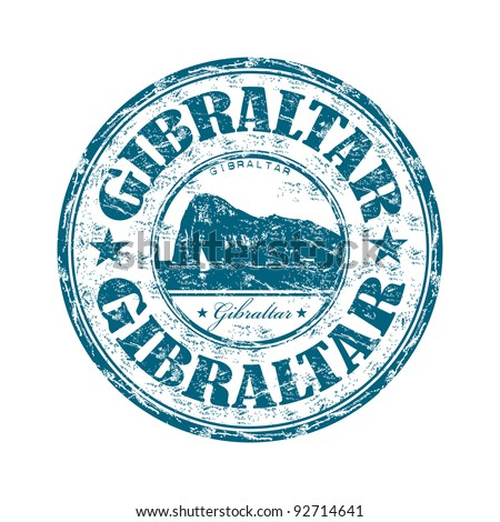 Blue grunge rubber stamp with the name of Gibraltar from the Iberian Peninsula written inside the stamp