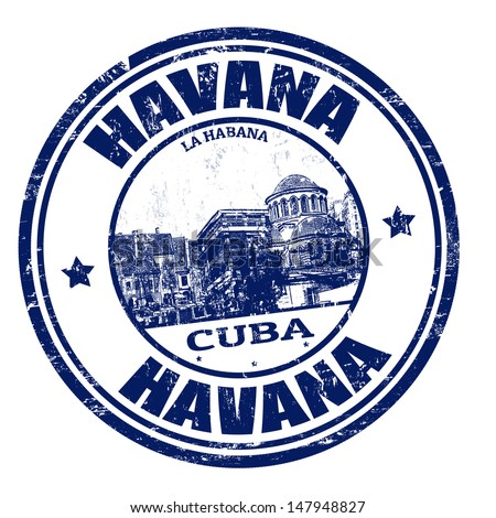 Blue grunge rubber stamp with the name of Havana the capital of Cuba written inside, vector illustration