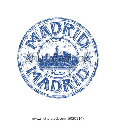 Blue grunge rubber stamp with the name of Madrid the capital of Spain written inside the stamp
