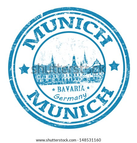 Blue grunge rubber stamp with the name of Munich the capital city of Bavaria from Germany, vector illustration - stock vector