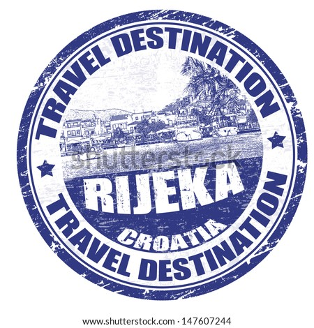 Blue grunge rubber stamp with the name of Rijeka the city of Rijeka written inside, vector illustration