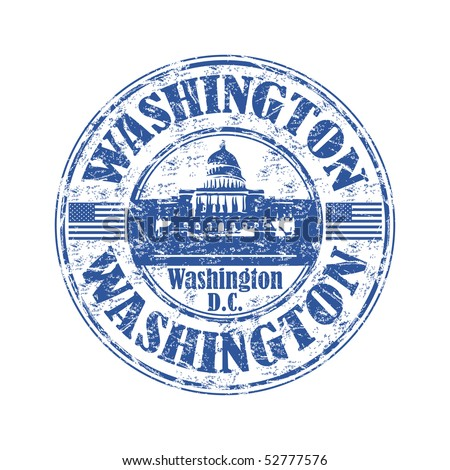 Blue grunge rubber stamp with the name of Washington the capital of United States written inside the stamp