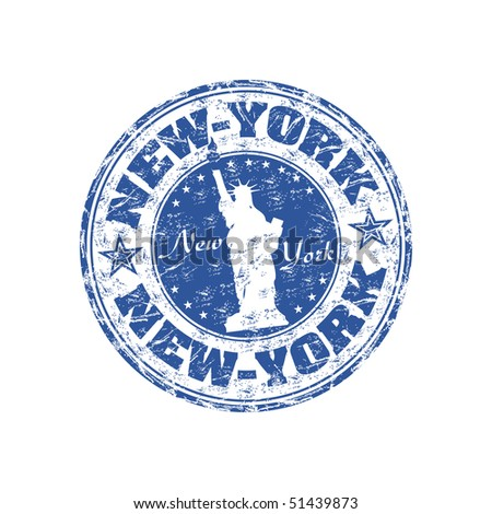 Blue grunge rubber stamp with the Statue of Liberty and the name of New York written inside the stamp