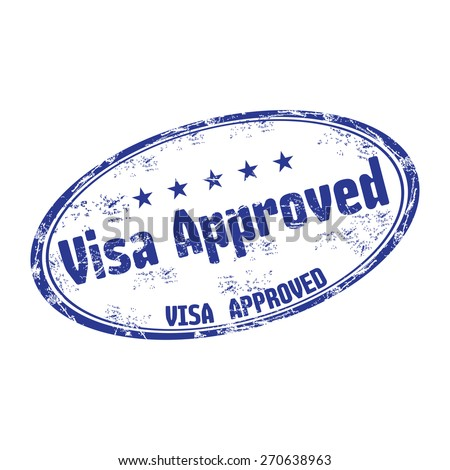 Blue grunge rubber stamp with the text visa approved written on the stamp