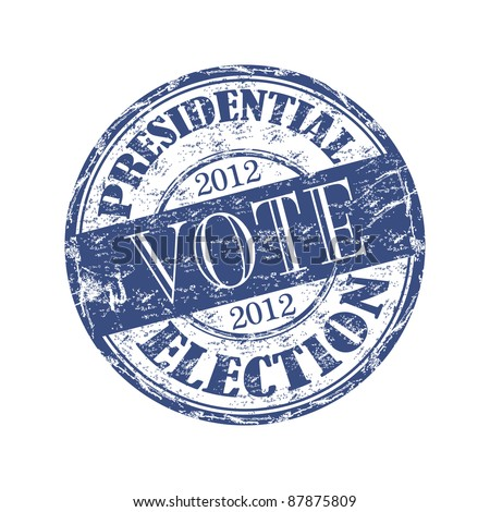 Blue grunge rubber stamp with the text vote presidential election 2012 written inside the stamp - stock vector
