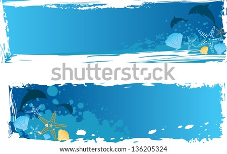 Blue grunge sea banner with dolphins, starfishes and seashells - stock vector