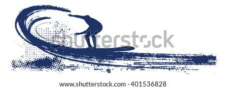 blue grunge surf scene - stock vector
