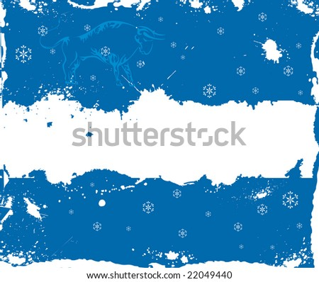 Blue grunge winter frame with ox and snowflakes