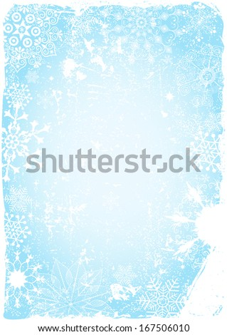 Blue grungy christmas card with snowflakes and spots (vector eps 10) - stock vector
