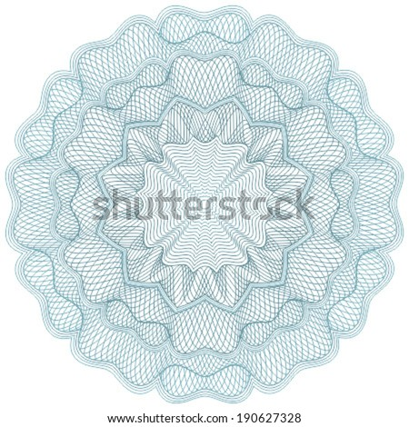 Blue guilloche element for certificate, diploma, voucher, currency and money design, banknote. / Stock vector / CMYK color / All lines and color are easy editable. - stock vector