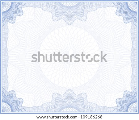 Blue guilloche frame for certificate, diploma or banknote - stock vector