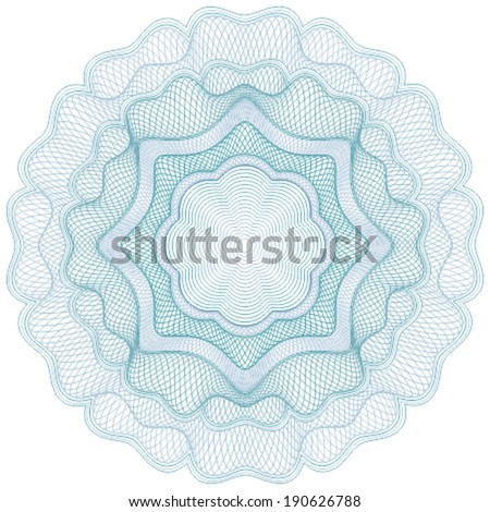 Blue guilloche rosette for certificate, diploma, voucher, currency and money design, banknote. / Stock vector / CMYK color / All lines and color are easy editable.  - stock vector