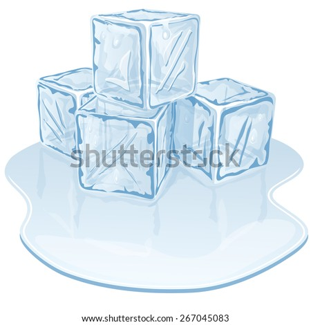 Blue half-melted ice cube pile. Vector illustration
