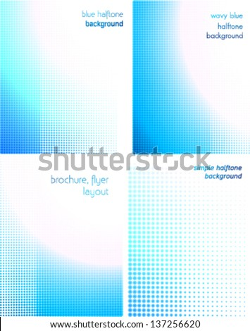 blue halftone background set. brochure, flyer, catalog layout, business concept backgrounds - stock vector