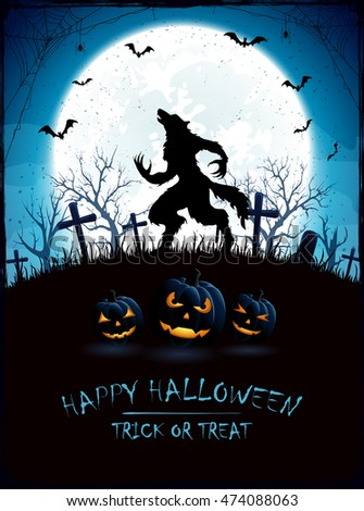 blue halloween background with moon and werewolf on cemetery grunge decoration with cobweb spiders - Halloween Werewolf